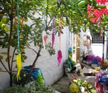 Kids' felt fish drying in the trees, Make yr own Fete @TheRailwaySW16