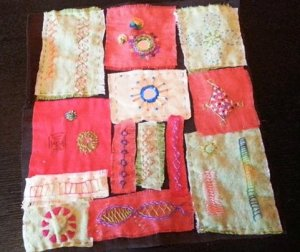 Gina's Indian embroidery stitch sampler
