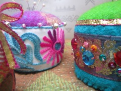 Pincushions made with felt & Indian trimmings