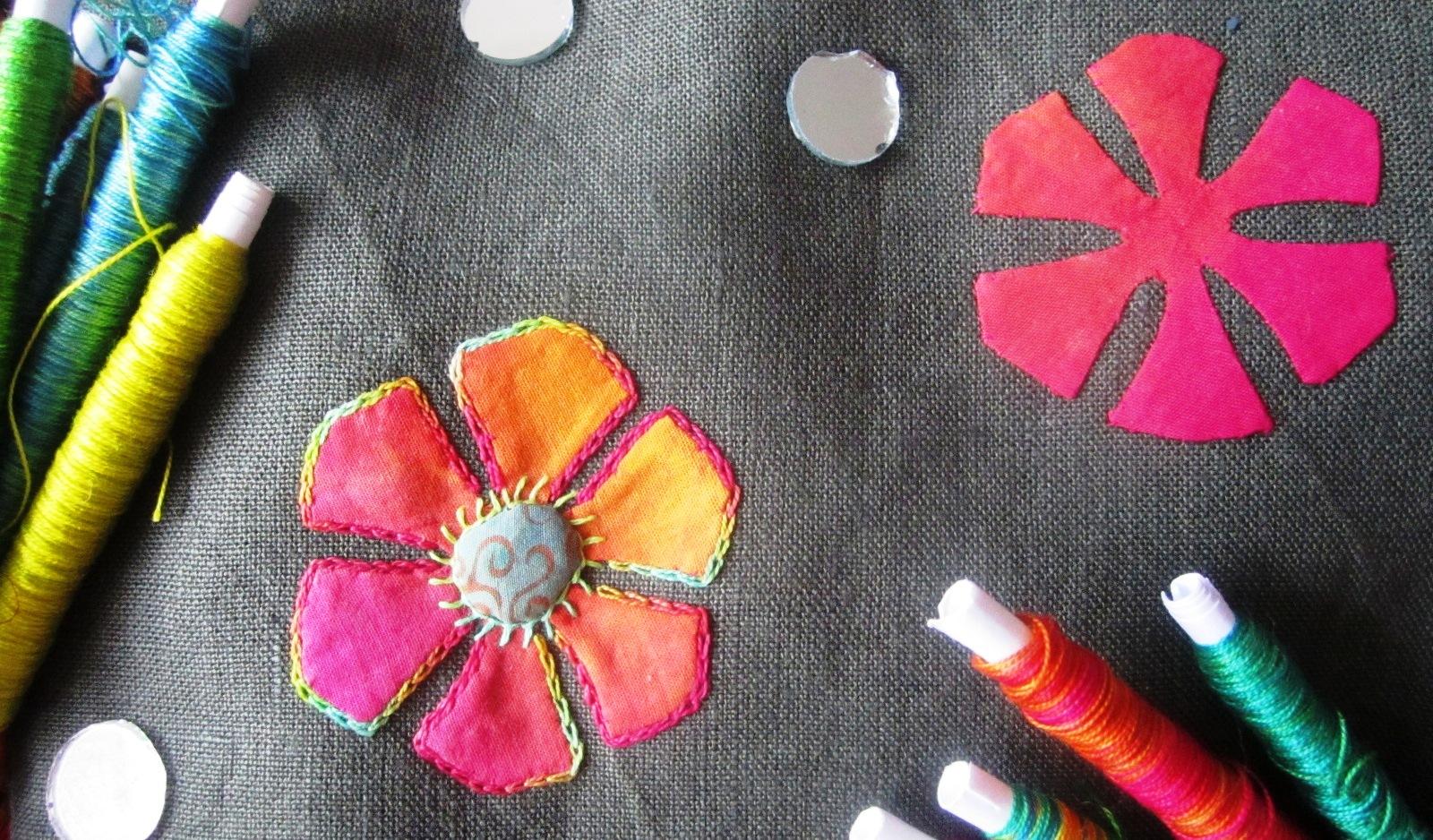 Indian applique flowers 002 carols creative workshops