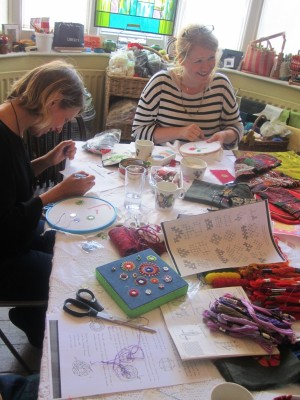 Clara and Catrin stitching in my south London studio