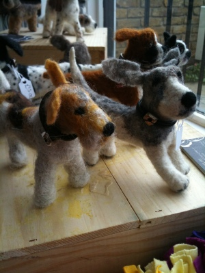 Needle felted dogs by Janet Thompson
