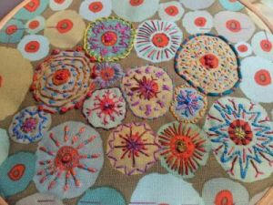circles embroidery on printed fabric