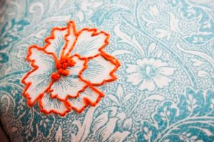 Embroidery on vintage fabric 3